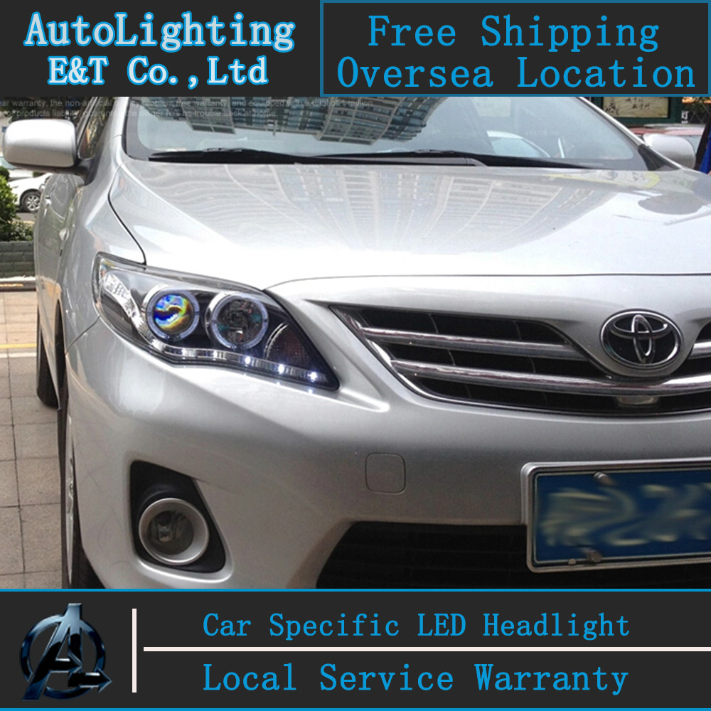 Car styling LED Head Lamp for Toyota Corolla led headlights 2011-2013 angel eye led drl H7 hid Bi-Xenon Lens low beam universal pu leather car seat covers for toyota corolla camry rav4 auris prius yalis avensis suv auto accessories car sticks