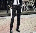 2016 Новый Мужчины Брюки Весна и Осень мужская Slim Fit Случайные Штаны Модные Прямые Костюм Брюки Узкие Брюки Гладкие брюки