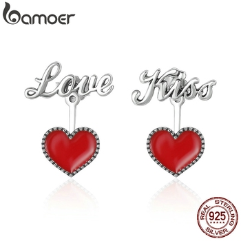 BAMOER Romantic 925 Sterling Silver Exquisite Red Heart Love & Kiss Letter Stud Earrings Women Fine Jewelry Brincos Gift SCE157