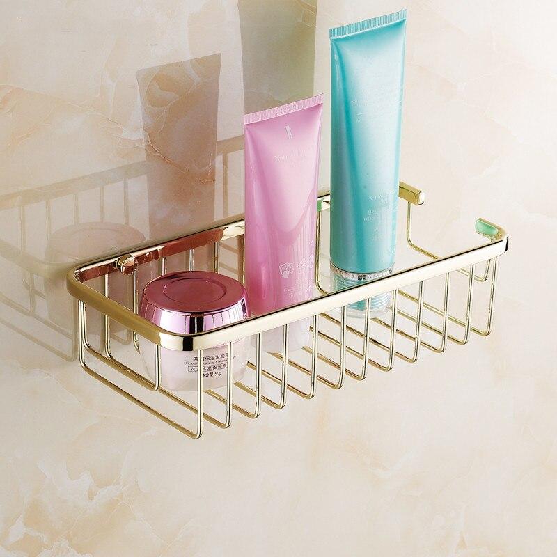 Bathroom Shelves 2 Tier Racks Gold Brass Towel Hook Washing Shower ...
