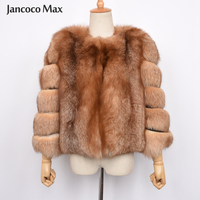 Women's Real Red Fox Fur Coat Thick Warm Crystal Fox Outerwear Top Quality Natural Fur Jackets S7464