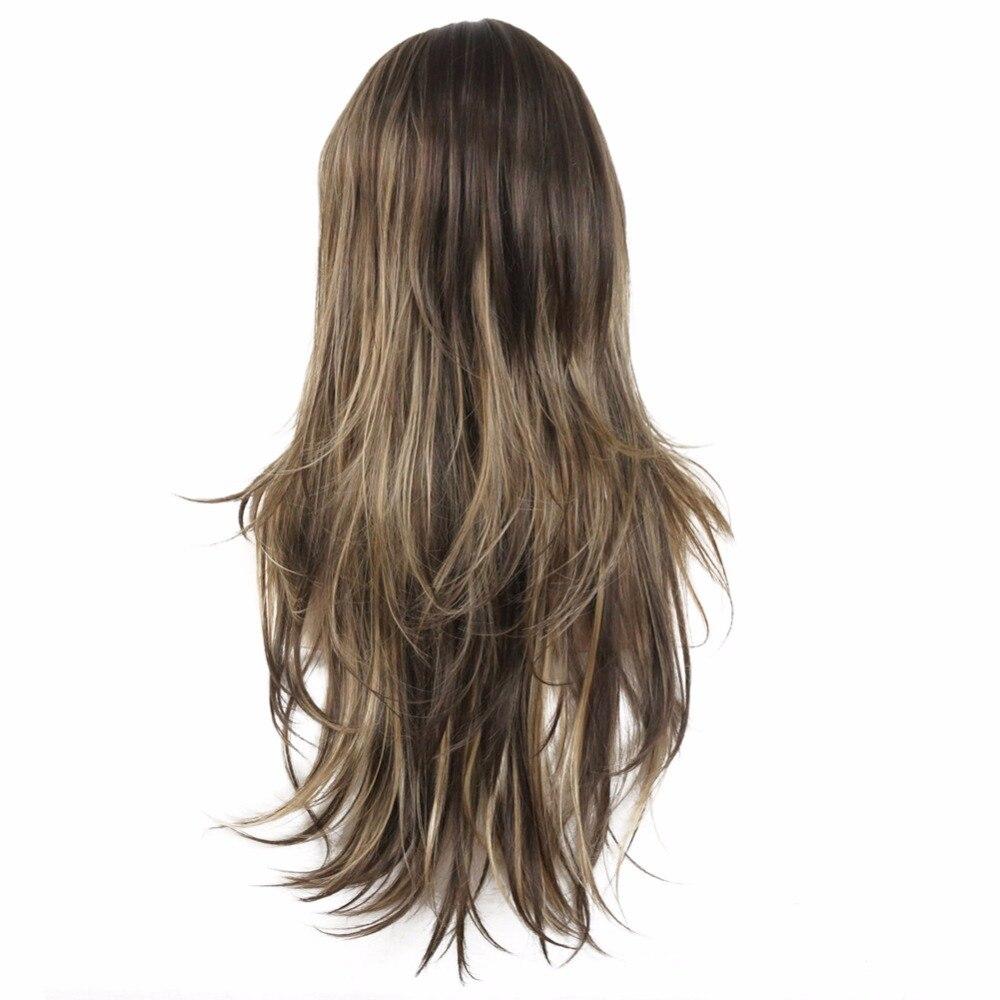 StrongBeauty Для женщин синтетический парик длинные прямые Многоуровневая прическа коричневый с светлые моменты Полный Парики