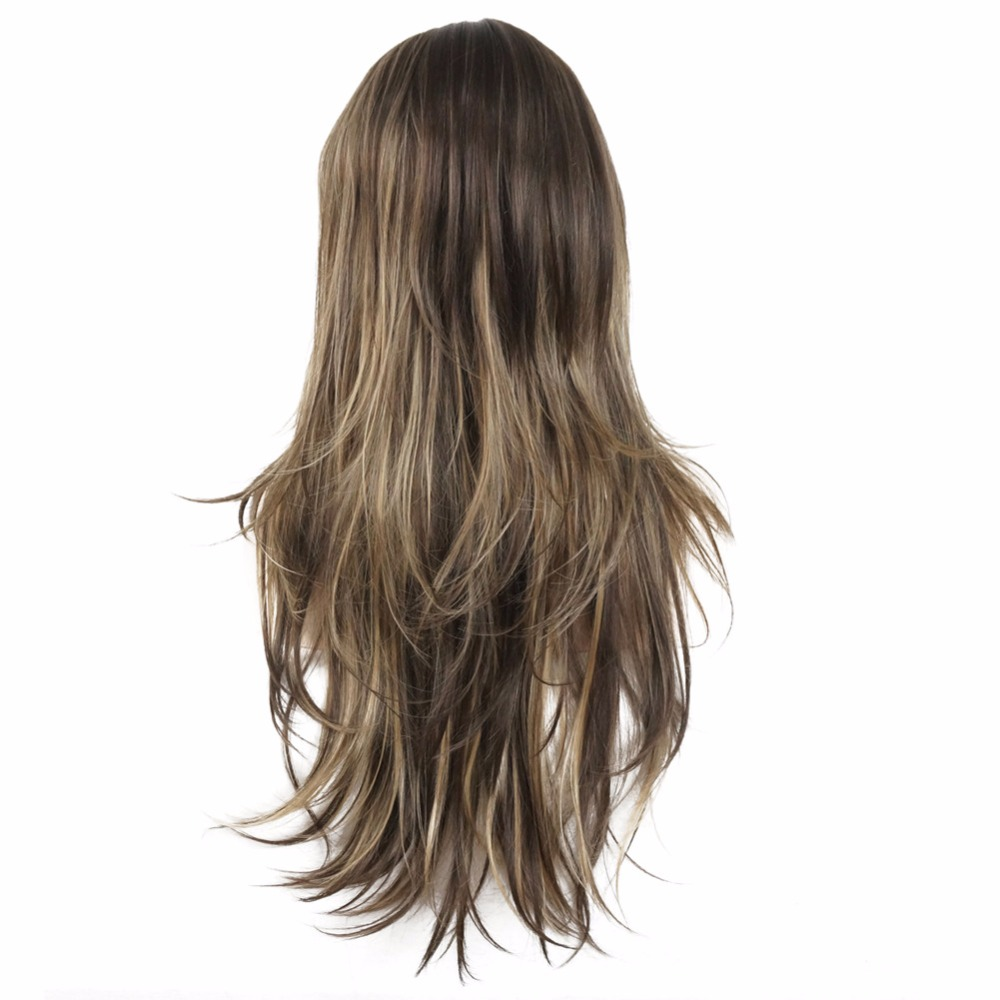 StrongBeauty Women 39 s Synthetic Wig Long Straight Layered Hairstyle Brown with Blonde Highlights Full Wigs in Synthetic None Lace Wigs from Hair Extensions amp Wigs