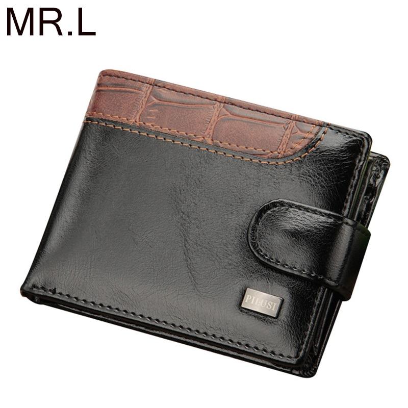 MR.L Vintage Leather Hasp Small Wallet Coin Pocket Purse Card Holder Men Wallets Money Cartera Hombre Bag Short Male Clutch
