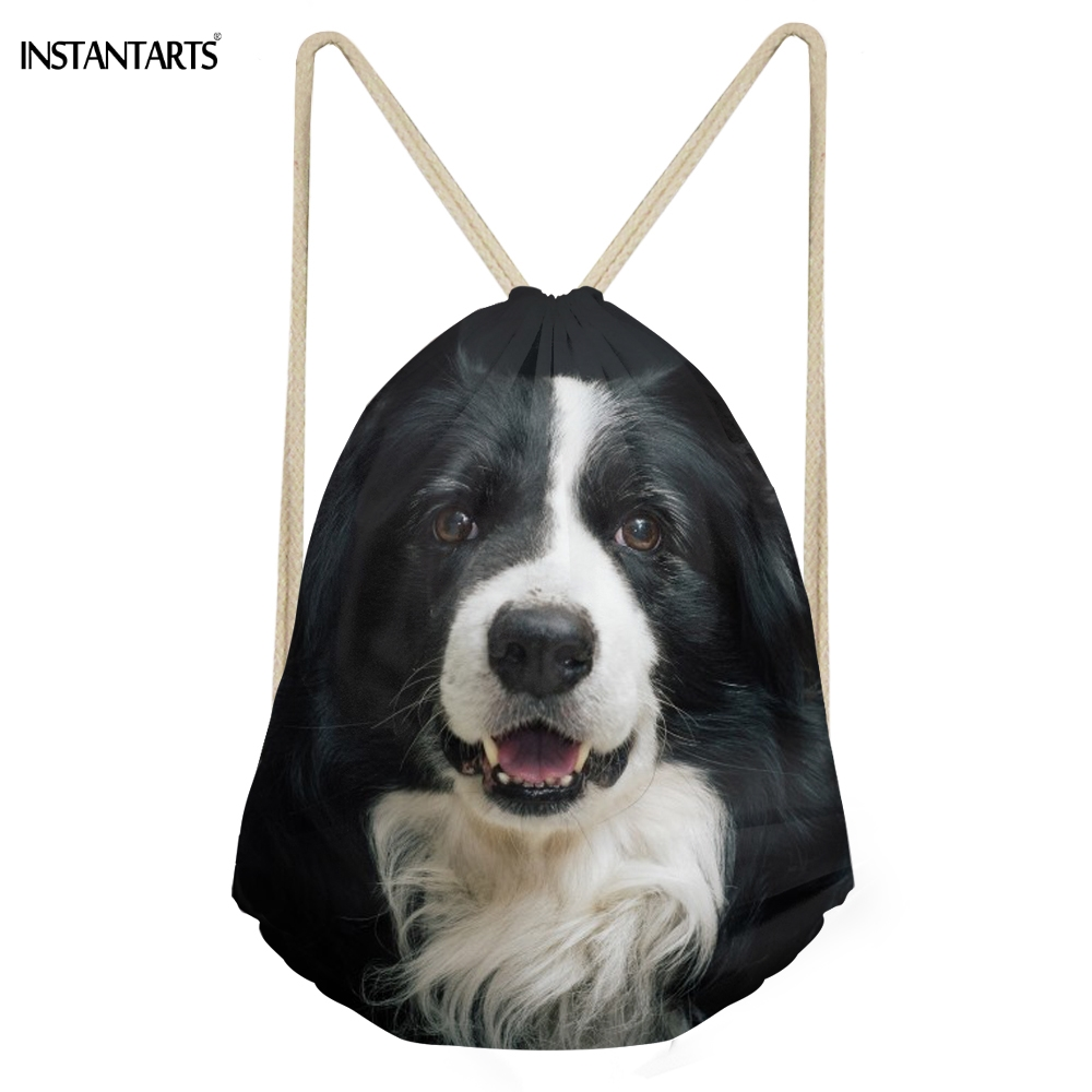 INSTANTARTS Casual Women Men Drawstring Bags Cute 3D Dog Border Collie Print Girls Soft Storage Backpacks School Student Bookbag