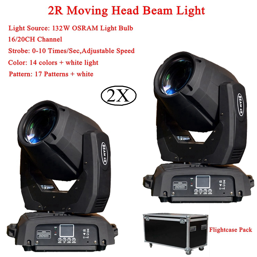 2Pcs/Lot Professional 132W LED Beam Spot Wash 3IN1 2R Moving Head Light Plus ZOOM Features 16/20 Channels DMX DJ Disco Lights 2pack 132w beam moving head dj disco party stage lights high power 2r 132w stage beam effect moving head light free shipping