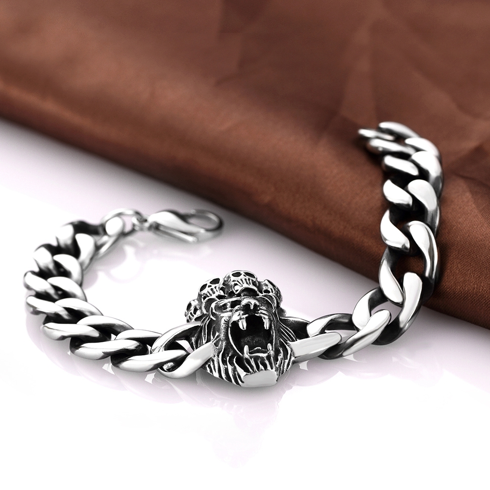 Aliexpress Com Hip Hop Jewelry Punk Skull 316l Stainless Steel Bracelet Bangles Clic Ferocious Lion Head Rock For Men Chain Charms From