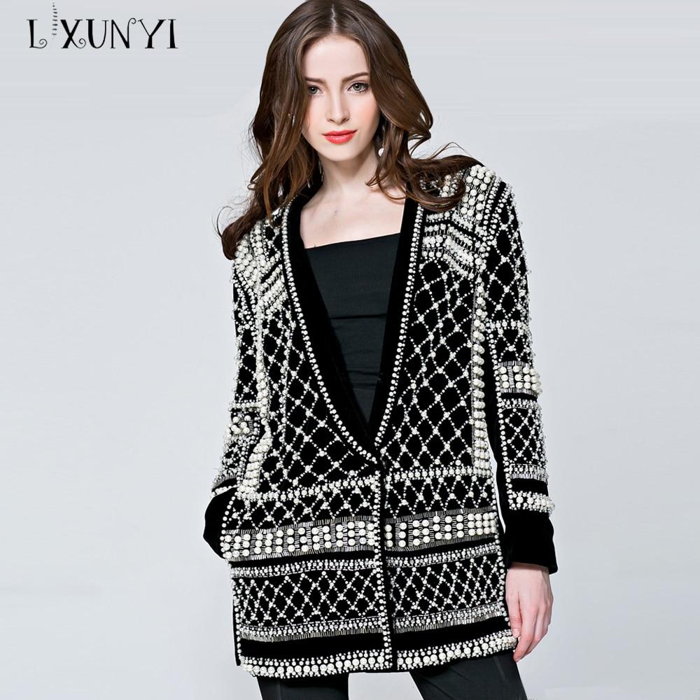 LXUNYI ручной работы бисером Блейзер Куртка для женщин Пиджаки для и куртки высокое качество high Street моды Chaquetas костюмы дамы