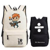 ED SHEERAN School Bag Zipper Fans Backpack Bag For Teenagers Girl Students Travel Laptop Computer Bag Cosplay 45x32x13cm