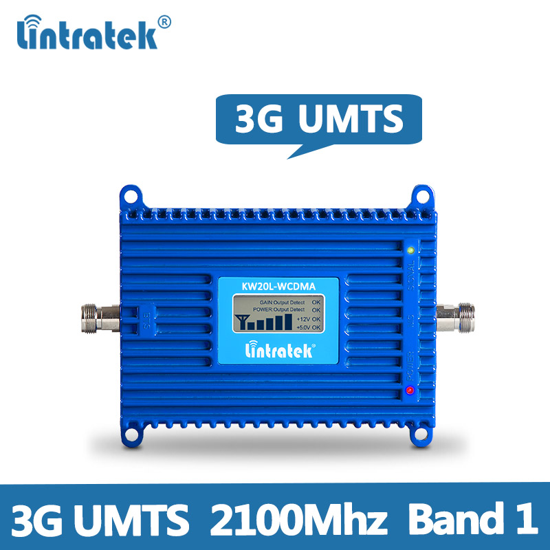 Lintratek 70dB AGC 3G Repeater 2100MHz Band 1 UMTS Mobile Signal Booster 3G 2100MHz WCDMA Cellphone Signal Repeater Amplifier