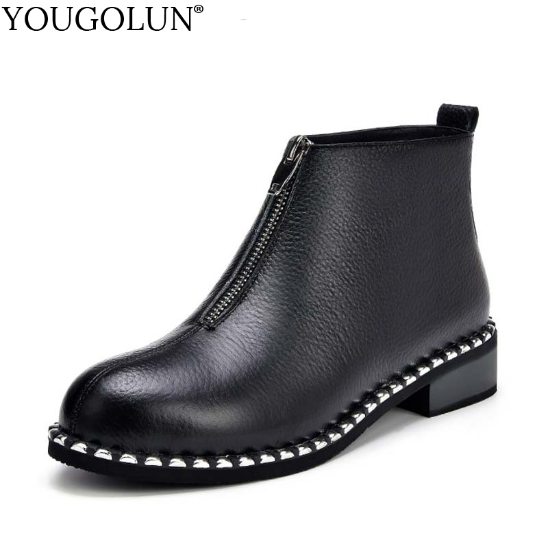 YOUGOLUN Women Ankle Boots New Spring Autumn Genuine Cow Leather Low Heel 3 cm Square Heels Black Zipper Chains Shoes #Y-264 women autumn winter boots 2016 new fashion genuine leather shoes woman ankle boots low heel square toe black shoes riding boots