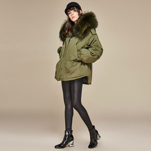 Women Winter 90% Duck Down Coat Parkas Long Thick Parka 100% Natural Raccoon Fur Collar Hood Coat