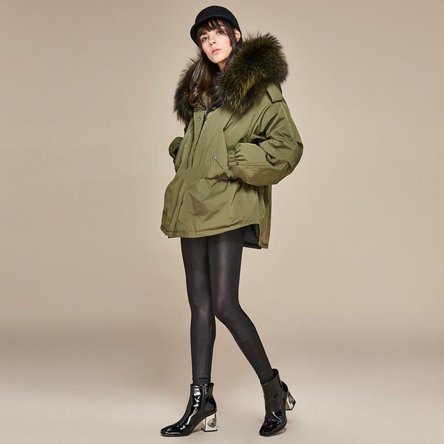 Duck Down Parkas Long Thick Fur Collar Hood Coat