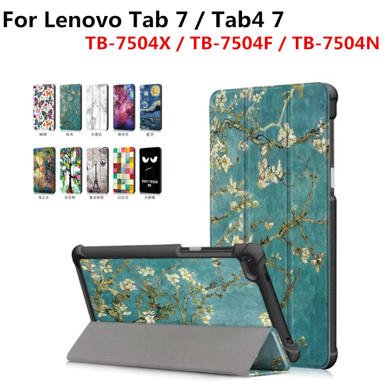 PU Leather Cover Slim Print Stand Protective Skin Case for Lenovo tab 4 7 Tab4 7.0 inch TB-7504F/TB-7504N/TB-7504X 7.0'' Tablet планшет планшет lenovo tab 4 tb 7504x za380087ru mediatek mt8735b 1 3 ghz 2048mb 16gb gps 3g lte wi fi bluetooth cam 7 0 1280x720 android