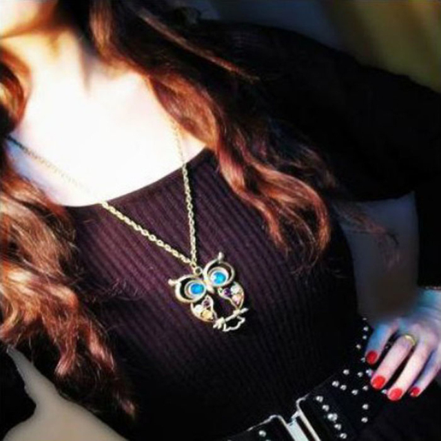 Big Blue Eyed Owl Long Chain Necklace