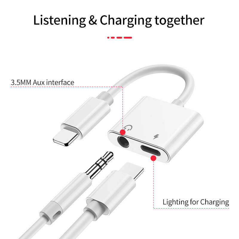 YBD 2 في 1 الإضاءة شاحن الاستماع محول ل iphone X 7 XR 8 محول الشحن 3.5 مللي متر جاك AUX الفاصل adaptador ل iphone