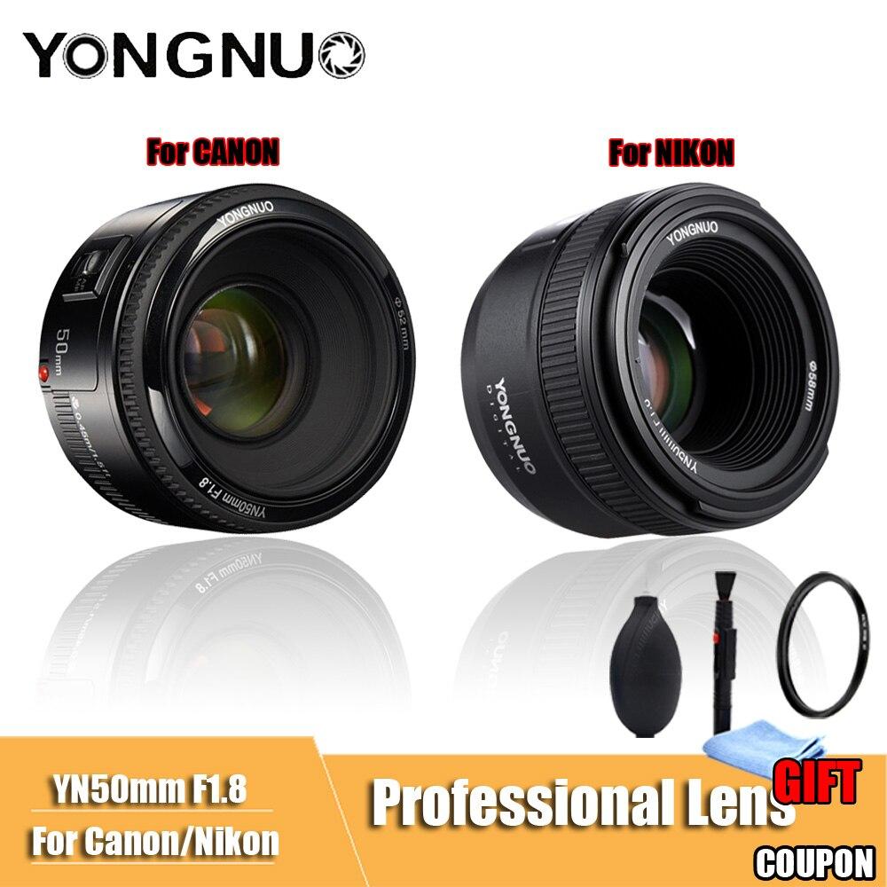 YONGNUO YN50mm F1.8 большой апертурой Авто фокусная линза DSLR Камера объектив для canon Nikon D800 D300 D700 D3200 D3300 D5100