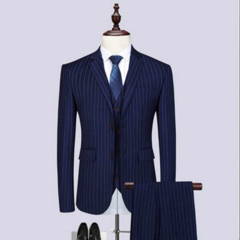 (Пиджак + жилет + брюки) Новый мужской бутик полосатый Свадебный костюм набор 2019 из трех предметов мужской деловой повседневный наряд