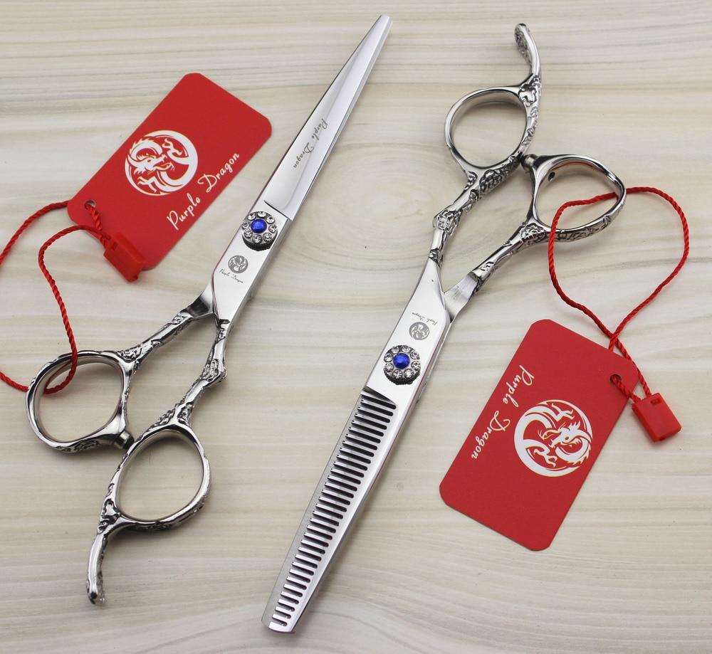 ФОТО 9CR Zilongjin 6.0 inch sapphire plum handle hairdressing scissors barber scissors flat cut teeth cut thinning scissors