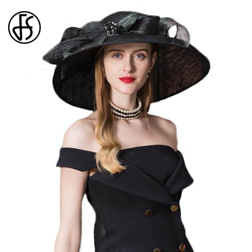 62c9ffc3037 FS Vintage Black Fascinator Sinamay Church Hats Women Elegant Lady Large  Wide Brim Linen Kentucky Derby Fedoras With Flower