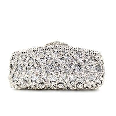 Women Gold Handbags Blue Crystal Evening Purse Metal Red Clutches Silver Beaded Bridal Wedding Box Clutch