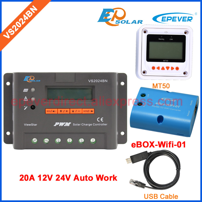 EPEVER EPSolar PWM Solar regulator charger 12V New series controller VS2024BN Wifi MT50 remote meter and USB cable 20A epsolar solar regulator 30a 12v 24v with remote meter mt50 solar charge controller 50v ls3024b
