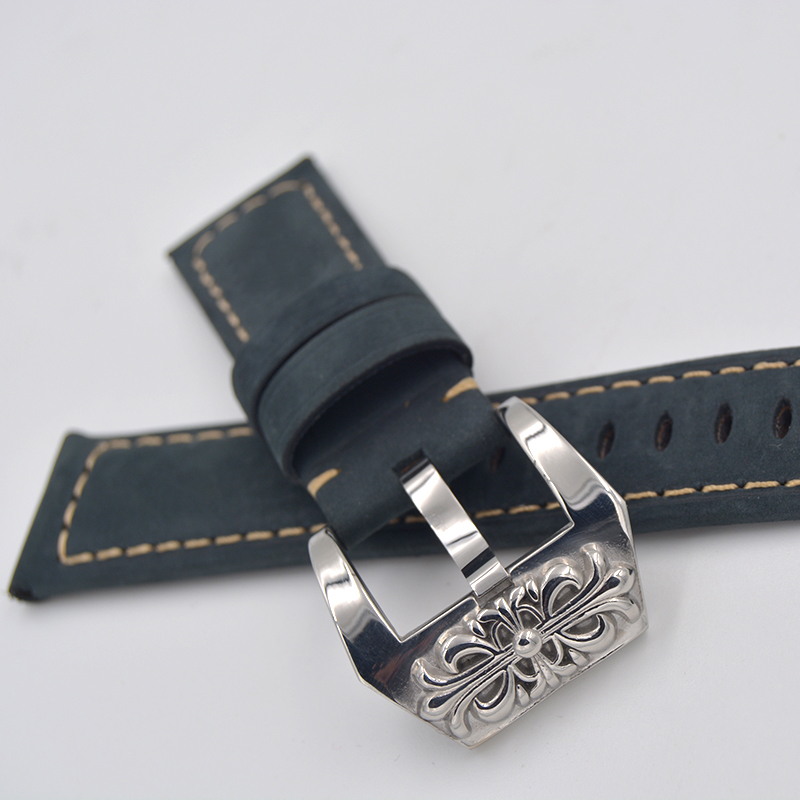 Men Watch Buckle Solid Stainless Steel Watch Strap Clasp For Panerai 20 22 24 26mm Blue Leather Watchbands Fast delivery!  handmade leather watchbands version classic men black 24mm 26mm watchbands for panerai strap fast delivery