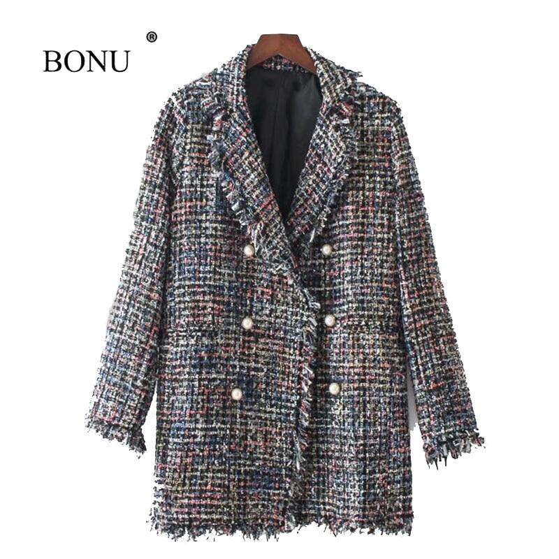 BONU New Autumn Winter Woolen Coat Embroidery Pearl Buckle Jacket Female Bomber Jacket Womens windbreaker Coat Female Coats