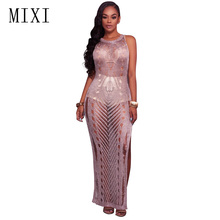MIXI Women Beach Dress Crochet Sleeveless Hollow Out Sexy Split Maxi Night Club Party Elegant Knitted Bodycon Long Dresses