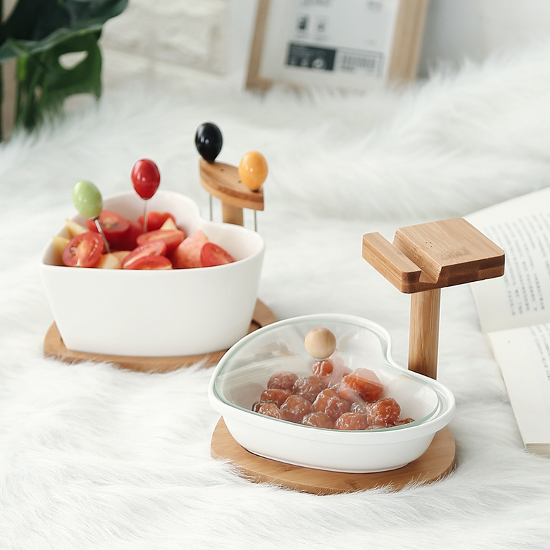 Nordic ceramics + wood love shape salad bowl with phone holder Candy nuts dish snack container tserving tray fruit fork