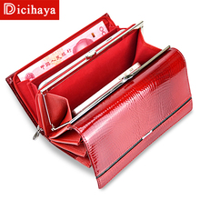 Купить с кэшбэком Genuine Leather Women Multifunction Wallet Serpentine Clutch Bags Luxury Women Wallets Patent Leather Designer Brand Lady purse