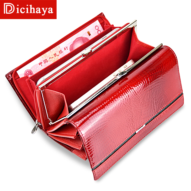 DICIHAYA Genuine Leather Women Wallet Multifunction Womens Wallets Brand Purses Carteira Femme Billetera Card Holder Phone Bag