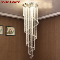 VALLKIN Modern LED Crystal Chandeliers Lighting Fixtures Dining Room Stairs Chandelier Lamps Indoor Home Deco Lamp