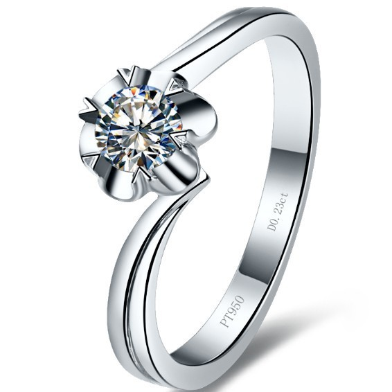 Elegant 0.23CT Pure 18K White Gold Pretty Flower Simulate Diamond Anniversary Ring For Women Romantic Engagement Gift For Her