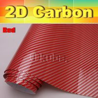 WHOLESALE Red High Glossy 2D Carbon Film High quality Car stickers 0.18mm Thickness