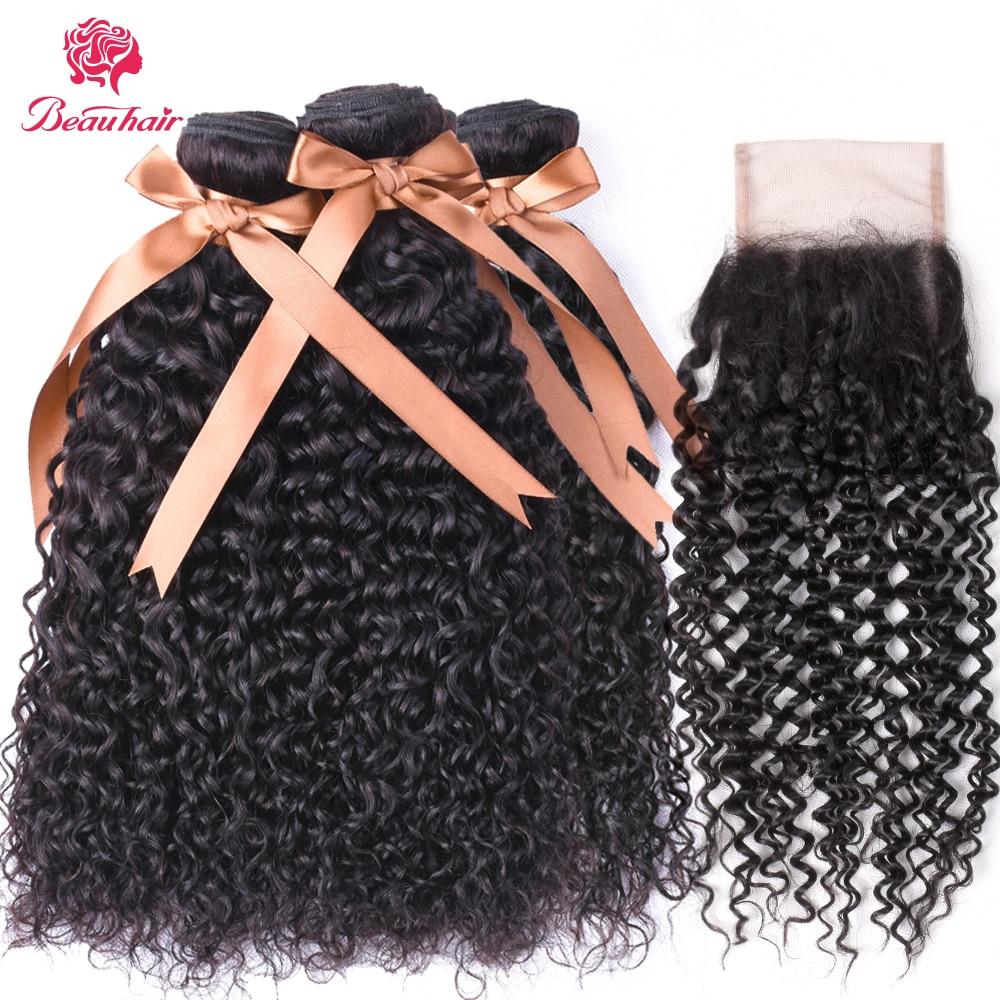 Beau Hair 4 Bundles with Lace Closure Peruvian Water Wave 5 pcs/lot 100% Human Hair Weave Bundles with 4*4 Closure Natural Black