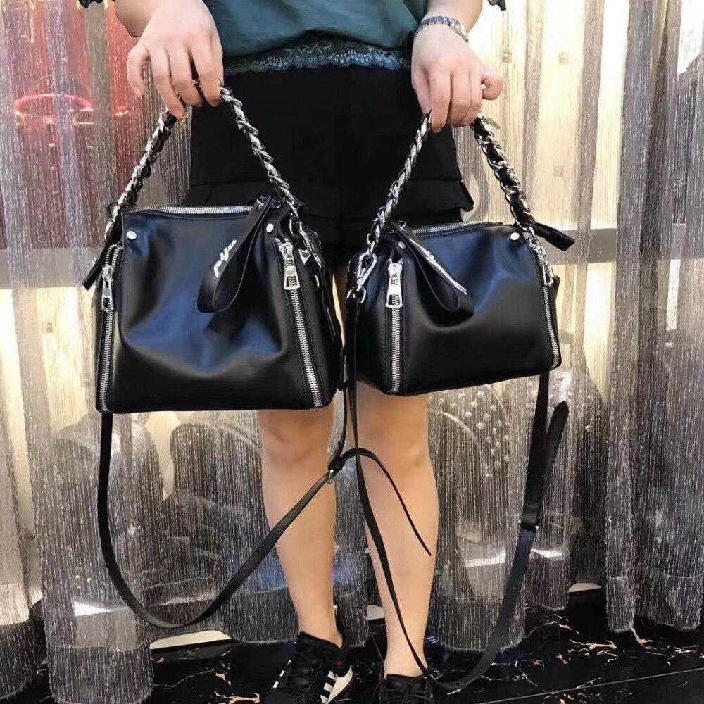 Kafunila fashion chain genuine leather women shoulder bag small size female messenger bag designer brand famous tote handbag все цены