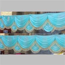 New  luxury Tiffany Blue Ice Silk Swag for Wedding Backdrop Decoration Party Curtain Drape 6m length