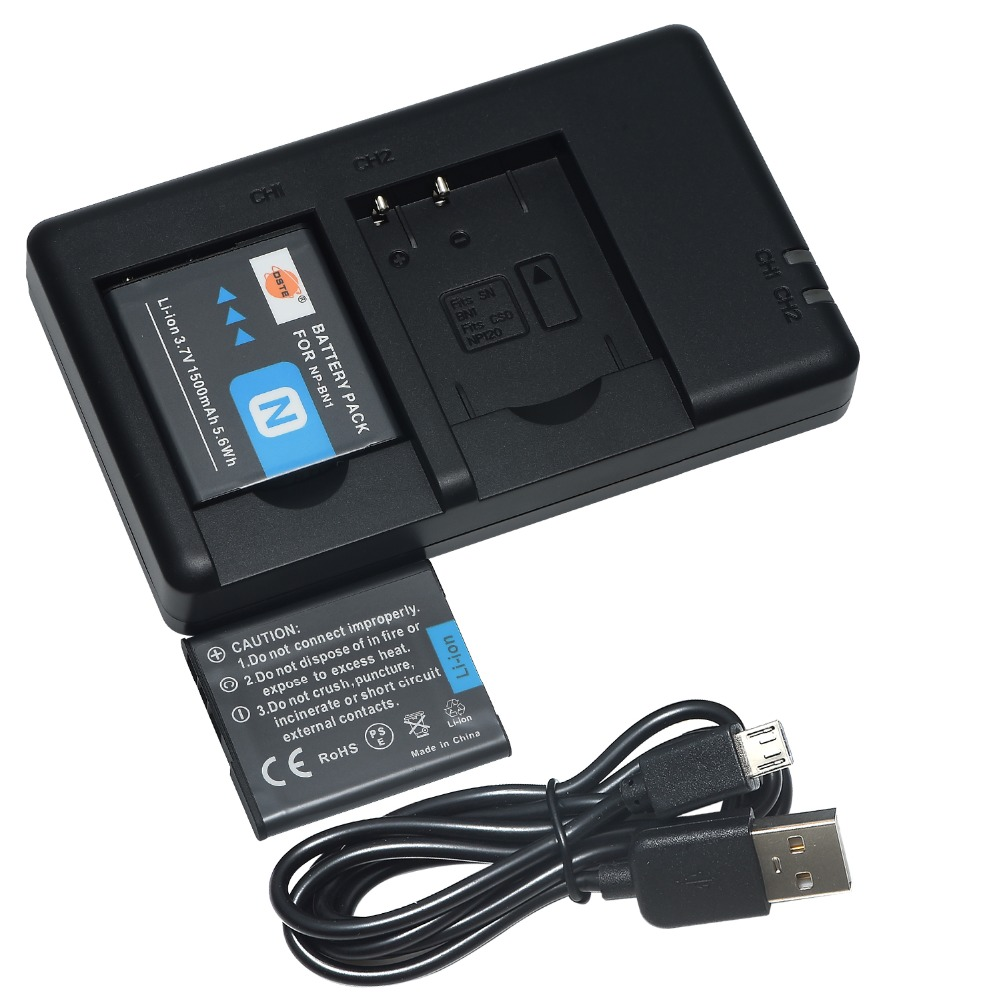 DSTE Dual Slot Charger with 2pcs NP-BN1 np-bn1 Battery Case Protector for <font><b>Sony</b></font> <font><b>DSC</b></font>-WX100 WX9 WX50 WX7 W510 <font><b>W320</b></font> W310 image