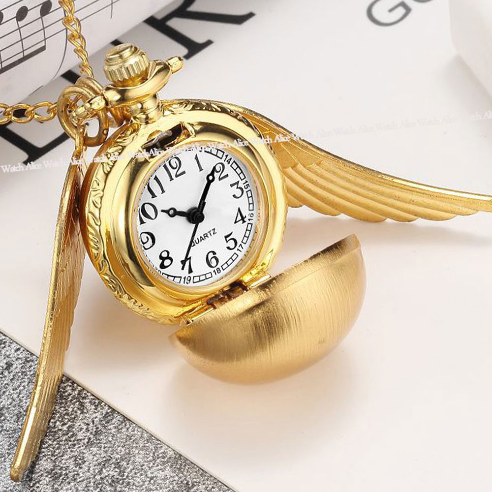 Vintage Golden Snitch Harry Potter Necklace Pocket Watch Women Men Pendants Silver Bronze Wing Quartz Clock Potter Fan Cute Gift zrm 20pcs lot wholesale fashion jewelry vintage charm potter golden snitch necklace for men and women