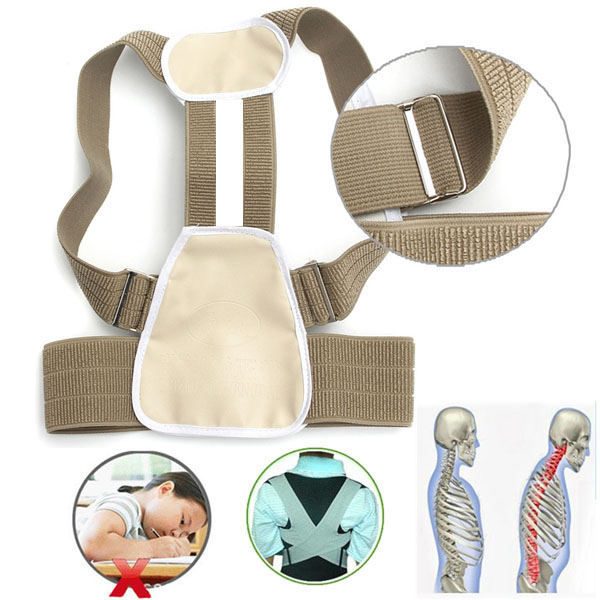 2PCS Child Children Health Care Humpbacks Braces Belt Posture Corrector Correction Slouch Orthosis Back Straight Support Belt back posture correction belt for children beige