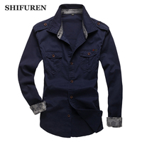 SHIFUREN New Autumn Causal Shirts Men 100% Cotton Long Sleeve Dress Shirts With Shoulder Loops Plus Size L XXXL Solid Color