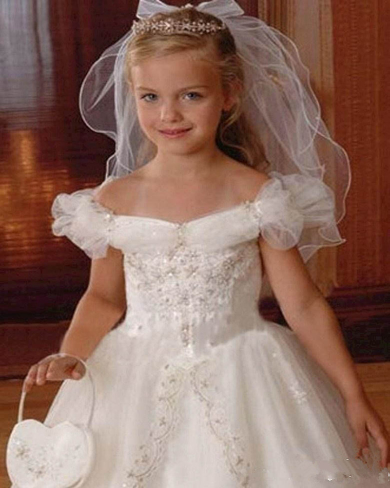Off Shoulder Beaded Ball Gown Holy The First Communion Dresses Kid ...