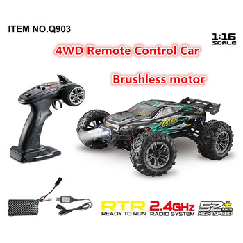 Brushless Motor 2.4G 4WD 52km/h High Speed Professional Remote Control Car with LED Light RTR RC Car Drift Toys gifts learning image
