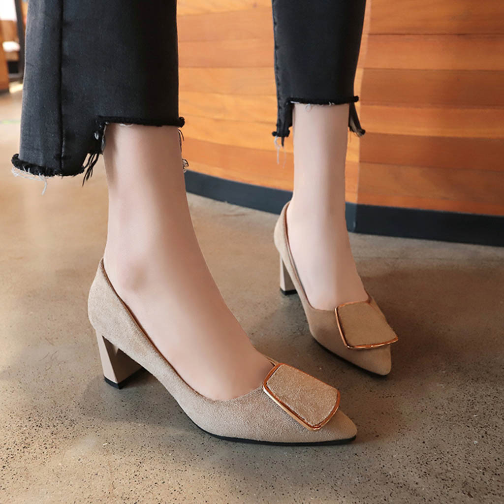 Women's Pumps PU Leather Vintage Comfort Shoes Pointed Toe Metal Buckle Casual Professional Work Single Shoes