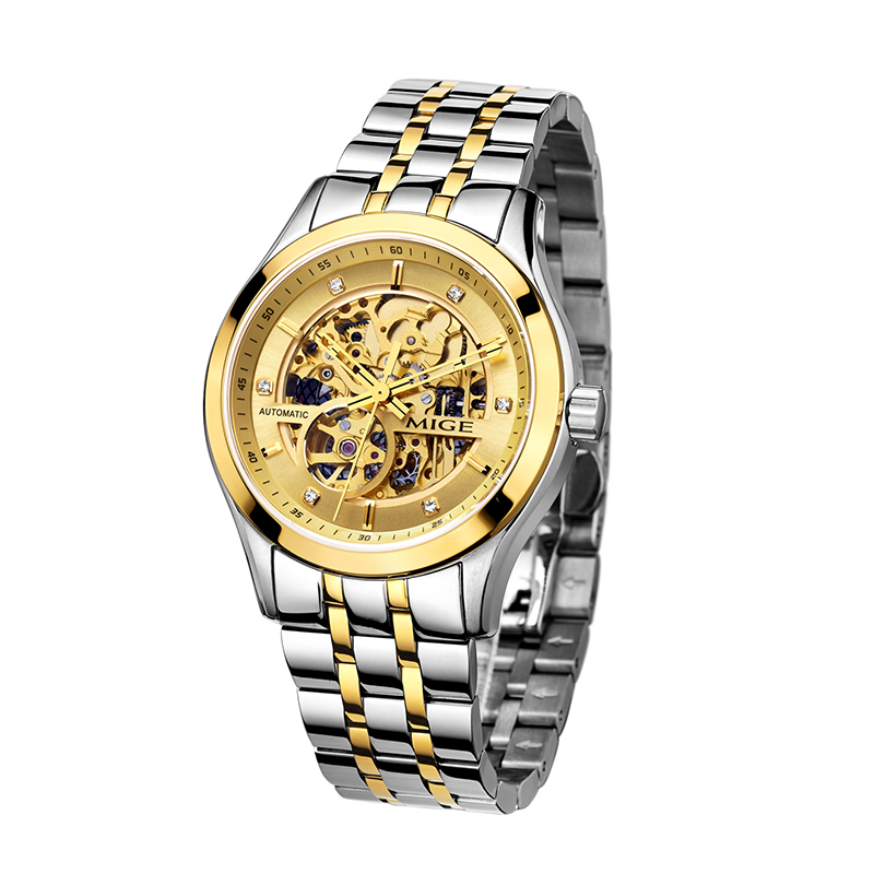 MIGE SKELETON JAPAN AUTOMATIC MOVEMENT GOLD CASE WHITE WATCHFACE STAINLESS STEEL BAND