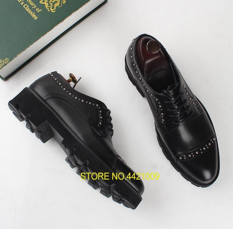 Summer Dress Shoes Men Lace Up Genuine Leather Smart Casual Shoes Platform Rivets Height Increasing Shoes Black Carved BrogueSummer Dress Shoes Men Lace Up Genuine Leather Smart Casual Shoes Platform Rivets Height Increasing Shoes Black Carved Brogue