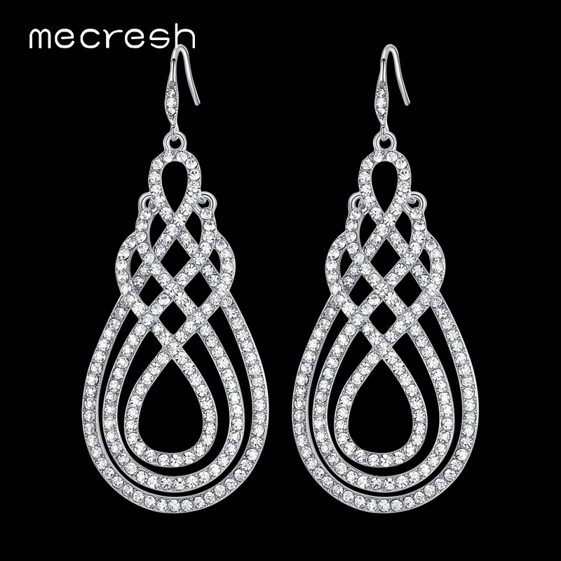 Mecresh Crystal Bridal Drop Earrings for Women Clear Geometric Wedding Hanging Brincos Unique Engagement Jewelry Gift EH321