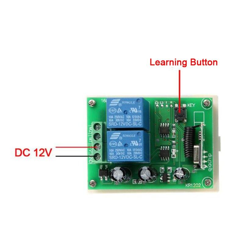 QIACHIP interruptor de Control remoto inalámbrico de 433 Mhz DC 12 V de RF de relé módulo receptor para DC Motor hacia adelante y hacia atrás controlador de interruptor