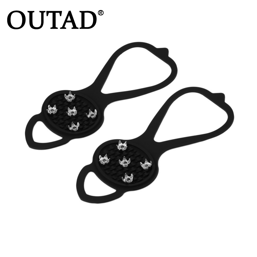 OUTAD 1pair Walking Cleat Ice Gripper Anti Slip Ice Snow Walking Shoe Spike Grip Camping Climb Ice Crampon Tight Stretch Rubber
